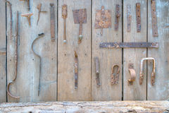 Rusty rural iron implements - agricultural and domestic Royalty Free Stock Image