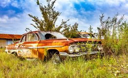 Rusty Salvage Yard Car images stock