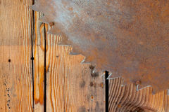 Rusty Saw Blade and Wood Royalty Free Stock Photos