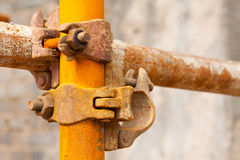 Rusty scaffold in a construction site Stock Image