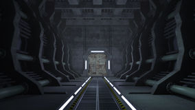 Rusty sci-fi corridor with doors. An image of a science fiction and futuristic corridor with abandoned rusty interior. At the end of the tunnel are mechanical vector illustration
