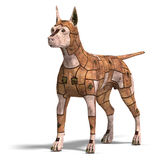 Rusty scifi dog of the future. 3D rendering with clipping path and shadow over white Royalty Free Stock Images