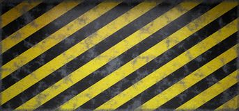 Rusty Scratched Grunge Hazard Striped Warning Empty Wall. 3D Re stock illustration