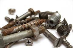 Rusty screw. On the isolated background Stock Photo