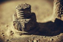 Rusty screw and nut Stock Photo