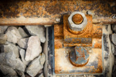 Rusty nut on the railroad Royalty Free Stock Photo
