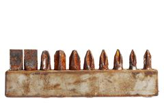 Rusty screwdriver heads Royalty Free Stock Image