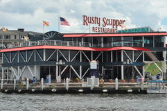 Rusty Scupper Restaurant & Bar at the Inner Harbor in Baltimore, Maryland Royalty Free Stock Images