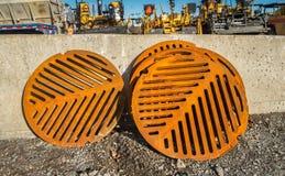 Rusty Sewer Covers Stockbilder