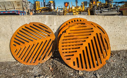 Rusty Sewer Covers Stock Images