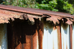 Rusty Shed Roof. A crumbling roof of a metal shed Stock Photography