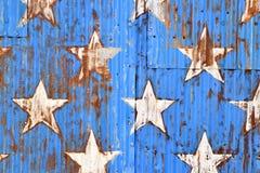 Rusty Sheet Metal With Red, bianco e pittura blu Fotografie Stock