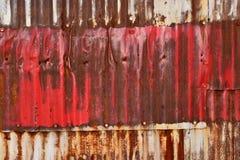 Rusty Sheet Metal With Red, bianco e pittura blu Immagine Stock Libera da Diritti