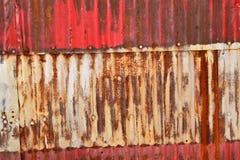 Rusty Sheet Metal With Red, bianco e pittura blu Fotografia Stock