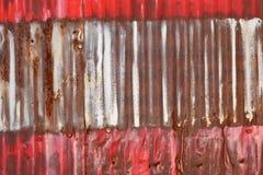 Rusty Sheet Metal With Red, bianco e pittura blu Fotografia Stock Libera da Diritti