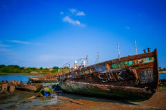 Rusty Ship in Blue sky Stock Images