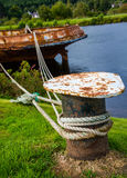 Rusty ship fixed in the harbour Royalty Free Stock Images