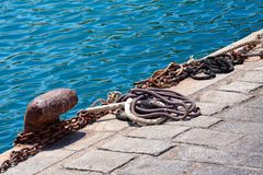 Rusty ship mooring Stock Images