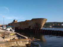 Rusty ship on the pier Vladivostok sity Russia. Stock Photography