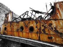 Rusty ship wreckage. Big and Rusty ship wreckage Stock Photo