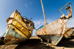 Rusty ships. Two decaying boats Royalty Free Stock Photography