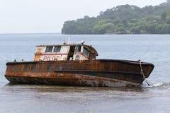 Rusty shipwreck in Portobelo Panama Stock Image