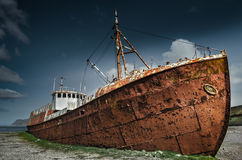 Rusty Shipwreck. Stranded trawler in the Westfjords of Iceland Royalty Free Stock Photo