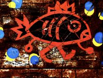 Red Fish Walking - Abstract. Rusty signage of live fish for sale with red painted fish illustration with blue and yellow circles depicting water Royalty Free Stock Photography