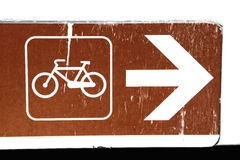 Rusty Signal. With scratches, bicycle and arrow Royalty Free Stock Images