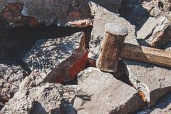 Free Rusty Sledgehammer On Broken Bricks And Concrete Stones Royalty Free Stock Image - 157032626
