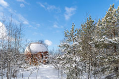 Rusty spherical gas tank in forest Stock Image