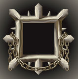 Rusty spiky metal frame border with chain Stock Photography