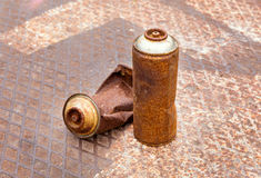Rusty spray cans Stock Image