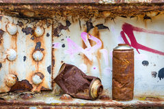 Rusty spray cans Royalty Free Stock Images