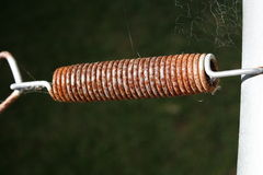 Rusty spring. A rusty spring on a trampoline with a few cobwebs surrounding it Royalty Free Stock Images