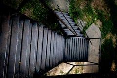 Rusty stairs at The death railway bridge. In Kanchanaburi stock photography