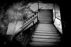 Rusty stairs at The death railway bridge. In Kanchanaburi stock image