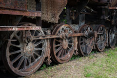 Rusty steam locomotive wheels Stock Photography