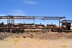 Rusty steam locomotives, train cemetery in Bolivia Royalty Free Stock Image