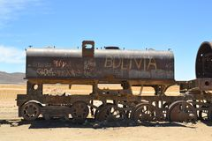 Rusty steam locomotives, train cemetery in Bolivia Royalty Free Stock Photo
