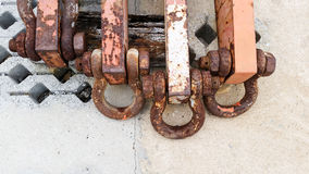 Rusty steel anchor shackles Royalty Free Stock Image