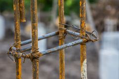 Rusty steel bar rod in construction site new house stock images