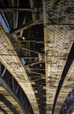 Rusty steel bridge. Bottom with rivets visible stock photos
