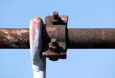Rusty steel cable of bridge pylon Royalty Free Stock Photos