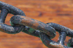Rusty steel chain. On deck Royalty Free Stock Image