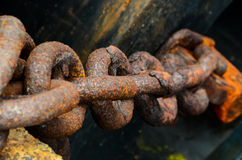 Rusty Steel Chain Detail Stock Photo