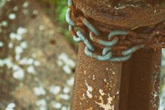 Rusty steel chain element, industrial background for commercial use.  royalty free stock photography