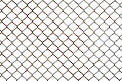 Rusty steel chicken wire netting isolated on a white background. Rusty steel chicken wire fence netting isolated on a white background royalty free stock photos