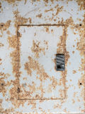 Rusty steel electrical panel. Electrical panel in dangerous condition royalty free stock photos