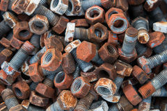 Rusty steel nuts and screws Royalty Free Stock Photos